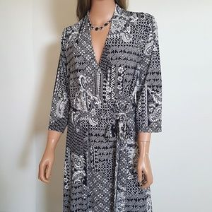 Liz Claiborne Faux WRAP Dress w/Tie Stretchy Black